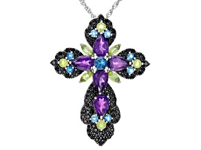 Pre-Owned Purple Amethyst Sterling Silver Cross Pendant With Chain 10.95ctw