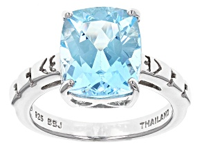 Pre-Owned Sky Blue Topaz Sterling Silver Solitaire Ring 5.31ct