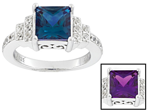 Pre-Owned Color Change Lab Created Alexandrite Sterling Silver Ring 2.29ctw