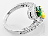 Pre-Owned White, Green And Yellow Cubic Zirconia Platineve Ring 3.99ctw
