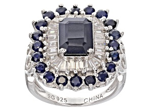 Pre-Owned Blue Sapphire Sterling Silver Ring 5.16ctw