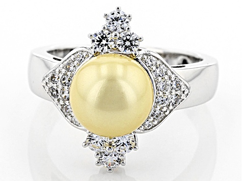 Pre-Owned Glass Pearl And White Diamond Simulant Platineve Ring 4.68ctw