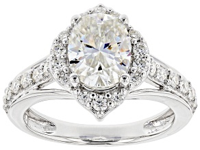 Pre-Owned Moissanite Fire® 2.80ctw DEW Oval And Round Platineve™ Ring