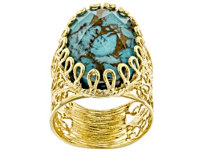 Pre-Owned Oval Turquoise Doublet 18K Yellow Gold Over Sterling Silver Ring