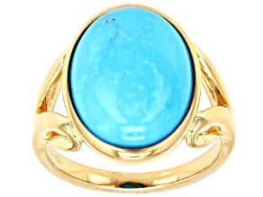 Pre-Owned Turquoise Sleeping Beauty 18k Gold Over Silver Ring