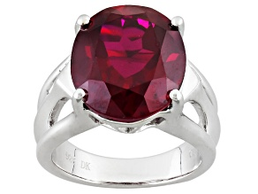 Pre-Owned Red Lab Created Ruby Sterling Silver Ring 7.99ct