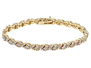Pre-Owned White Diamond 18k Yellow Gold Over Brass Bracelet 1.00ctw