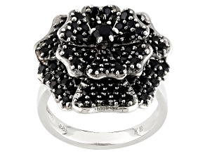 Pre-Owned Black Spinel Sterling Silver Flower Ring 2.60ctw