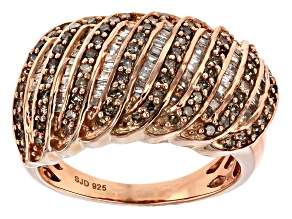 Pre-Owned Champagne and White Diamond 14k Rose Gold over Sterling Silver Ring 1.00ctw