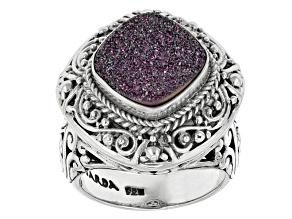 Pre-Owned Purple Drusy Quartz Sterling Silver Ring