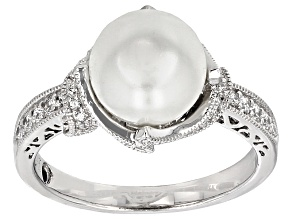Pre-Owned Platineve Glass Pearl And Cubic Zirconia Ring .64ctw