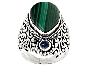 Pre-Owned Green Malachite Silver Ring .25ctw