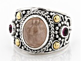 Pre-Owned Pink Morganite Silver With 18k Gold Accent Ring 4.17ctw