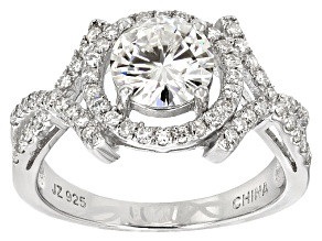 Pre-Owned Womens Crossover Design Solitaire Ring White Moissanite 2.50ctw Platineve