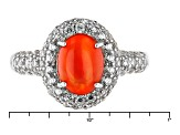 Pre-Owned Orange Ethiopian Opal Sterling Silver Ring. 2.60ctw