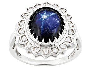 Pre-Owned Blue Star Sapphire Sterling Silver Ring 7.60ctw
