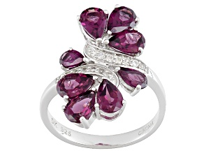 Pre-Owned Purple Rhodolite Silver Bypass Ring 3.26ctw