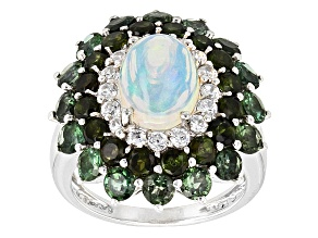 Pre-Owned Ethiopian Opal Sterling Silver Ring 3.67ctw