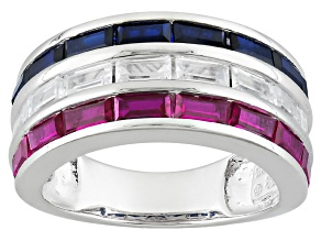Pre-Owned Lab Created Ruby And Sapphire And White Cubic Zirconia Silver Ring 3.16ctw