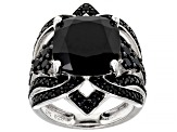 Pre-Owned Black Spinel Sterling Silver Ring 7.03ctw
