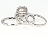 Pre-Owned White Cubic Zirconia Rhodium Over Sterling Silver Ring With Bands 2.18ctw