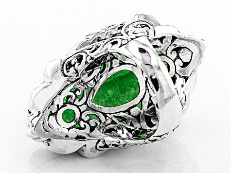 Pre-Owned Green Quartz Silver Elephant Ring