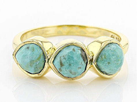 Pre-Owned Turquoise Kingman Green 18k Gold Over Silver Ring