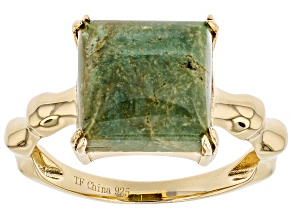 Pre-Owned Turquoise Green Kingman 18K Gold over Silver Ring