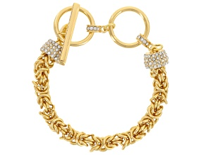 Pre-Owned White Crystal Gold Tone Byzantine Link Bracelet