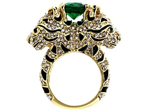 Pre-Owned White And Green Crystal Black Enamel Gold Tone Jaguar Ring