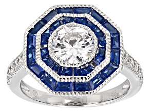 Pre-Owned Blue And White Cubic Zirconia Rhodium Over Sterling Silver Ring 3.10ctw