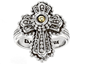 Pre-Owned Sterling Silver And 18k Gold Accent Cross Ring