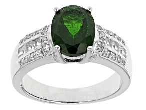Pre-Owned Green Chrome Diopside, White Zircon And White Topaz Sterling Silver Ring 3.44ctw