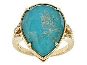 Pre-Owned Turquoise 18k Yellow Gold Over Sterling Silver Ring .14ctw