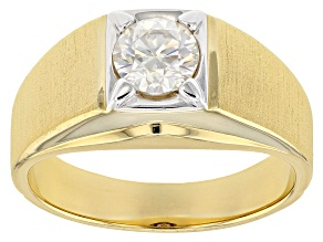 Pre-Owned Moissanite Fire® 1.00ct DEW Round 14k Yellow Gold Over Sterling Silver Gents Ring