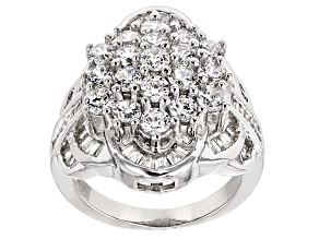 Pre-Owned Cubic Zirconia Silver Ring 5.35ctw (3.33ctw DEW)