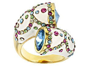 Pre-Owned Multicolor Crystal Gold Tone Bypass Ring