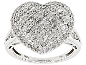 Pre-Owned White Diamond Rhodium Over Sterling Silver Ring .96ctw