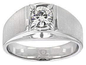 Pre-Owned Moissanite Fire® 1.00ct Diamond Equivalent Weight Round Platineve™ Solitaire Gents Ring