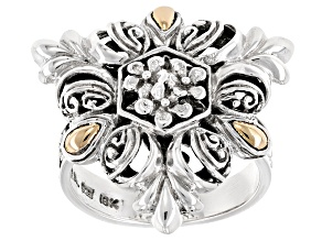 Pre-Owned Silver With 18k Gold Accent Floral Ring