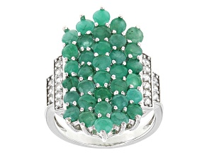 Pre-Owned Green Sakota Emerald Sterling Silver Ring 3.71ctw