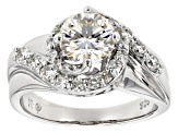 Pre-Owned Moissanite Fire® 1.80ct Diamond Equivalent Weight Round Platineve™ Swirl Ring
