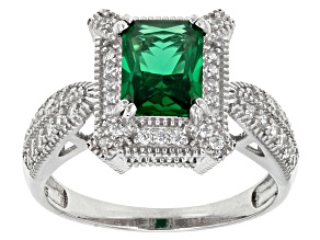 Pre-Owned Green And White Cubic Zirconia Rhodium Over Sterling Silver Ring 3.75ctw