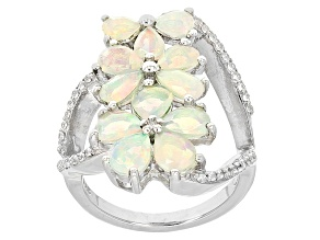 Pre-Owned Ethiopian Opal And White Zircon Sterling Silver Ring. 1.91ctw