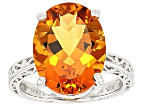 Pre-Owned Golden Citrine Sterling Silver Ring 7.09ct