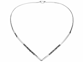 Pre-Owned Womens Etched Detail V Collar Necklace Sterling Silver