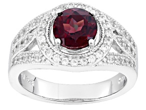 Pre-Owned Purple Rhodolite And White Zircon Sterling Silver Ring 2.26ctw