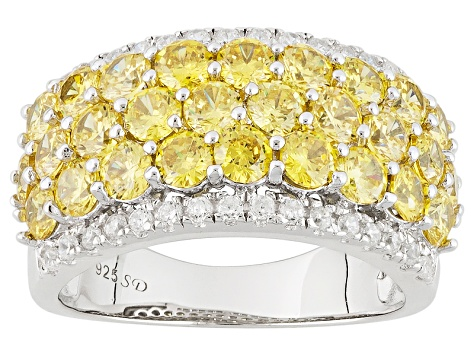 Pre-Owned Yellow And White Cubic Zirconia Rhodium Over Silver Ring 6.21ctw