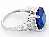 Pre-Owned Blue Lab Created Spinel Sterling Silver Ring 6.60ctw