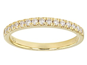 Pre-Owned Moissanite Ring 14k Yellow Gold Over Silver .23ctw DEW.